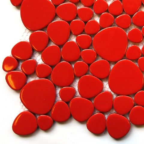 Free Form Pebble Tiles - Red